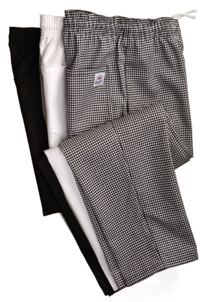 Unworn M French Houndstooth Elasticated Waist Cotton Chef Pants  Chore Pants