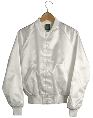 Satin Baseball Jacket (White) Sunstarr Apparel