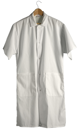 Short Sleeve Lab Coat 2 Pockets (White) Sunstarr Apparel