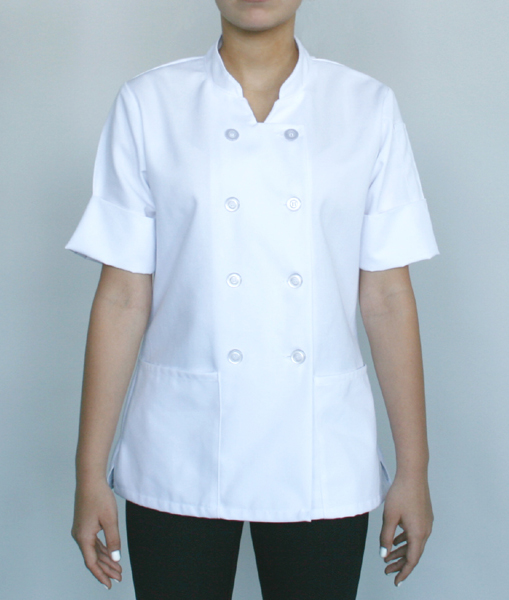 Women's chef shirt, convertible sleeves (White)