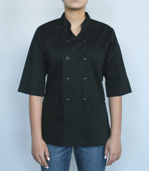 Women's chef shirt, convertible sleeves (Black)