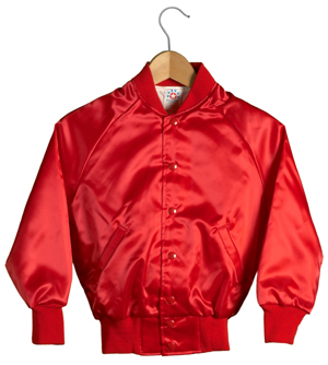 Kid Size Satin Baseball Jacket (Red)