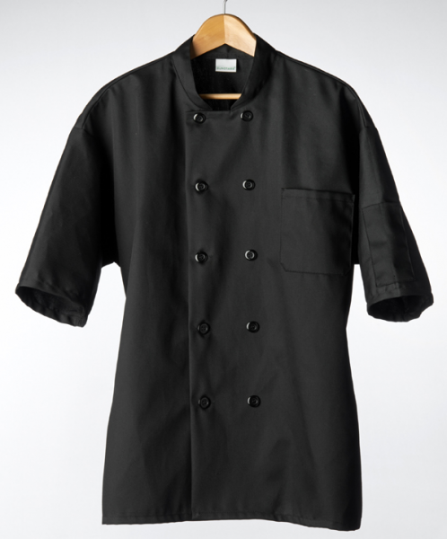 Classic Chef Coat, Short Sleeves (Black)