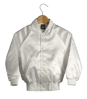 Kid Size Satin Baseball Jacket (White)