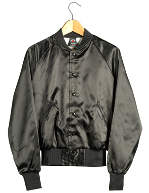 Satin Baseball Jacket (Black)