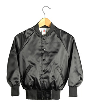 Kid Size Satin Baseball Jacket (Black)