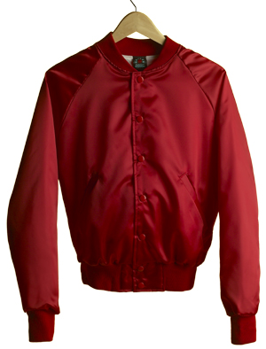 Satin Baseball Jacket (Red)