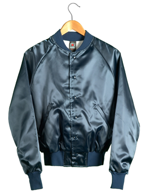 Satin Baseball Jacket (Navy)